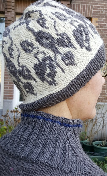 knitted hat with grey herons colorwork