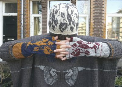 Heron hat & mittens (on Ravelry)